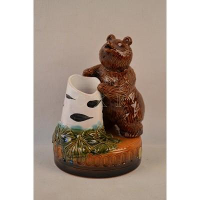 Карандашница Медведь с березкой