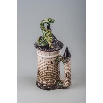 Кружка с крышкой с драконом (глазурь)